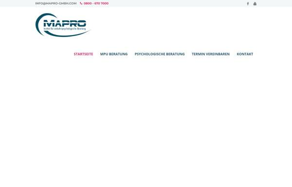 Vorschau von mapro-gmbh.com, MaPro GmbH, Institut für verkehrspsychologische Beratung