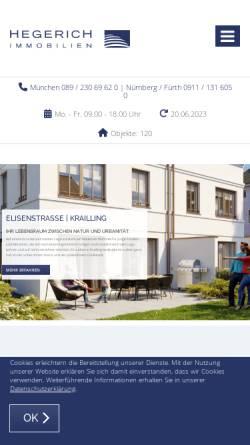 Vorschau der mobilen Webseite www.hegerich-immobilien.de, Hegerich Immobilien GmbH