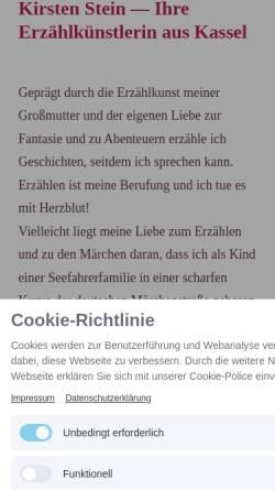 Vorschau der mobilen Webseite www.kirstenstein-erzaehlkunst.de, Kirsten Stein - Erzählkunst aus Nordhessen