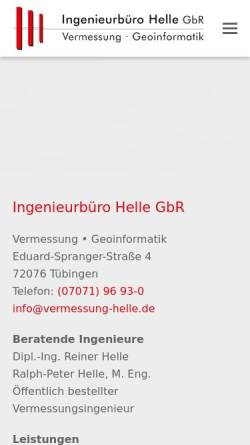 Vorschau der mobilen Webseite www.vermessungsbuero-helle.de, Ingenieurbüro für Vermessung R. Helle mit Sitz in Tübingen