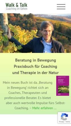 Vorschau der mobilen Webseite www.walk-and-talk-stuttgart.de, Walk & Talk - Coaching im Gehen, Johann-Friedrich Weber