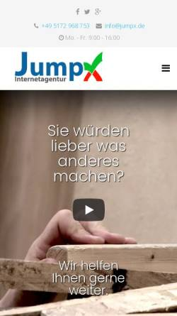 Vorschau der mobilen Webseite www.jumpx.de, JumpX