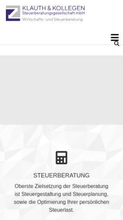 Vorschau der mobilen Webseite www.steuerberater-klauth.de, Steuerberater Klauth