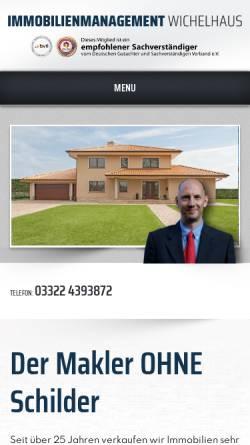 Vorschau der mobilen Webseite www.immobilien-falkensee.biz, Immobilienmanagement Wichelhaus