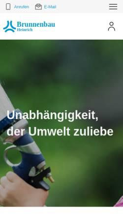 Vorschau der mobilen Webseite www.brunnenbau-heinrich.de, Brunnenbau & Erdwärmesonden Ronald Heinrich