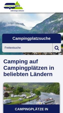 Vorschau der mobilen Webseite www.campinggate.de, campinggate