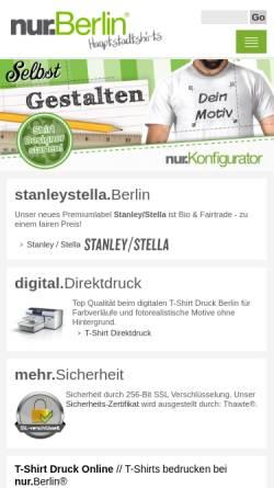 Vorschau der mobilen Webseite nur.berlin, nur.Berlin // Hauptstadtshirts
