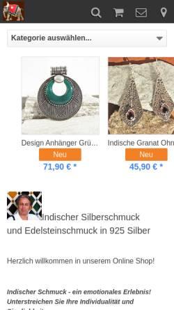 Vorschau der mobilen Webseite www.indien-schmuckkunst.de, Indien-Schmuckkunst, Musa-Trade Dipl. Ing. Ahmed Musa