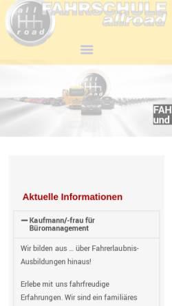 Vorschau der mobilen Webseite www.fahrschule-allroad.de, Fahrschule allroad
