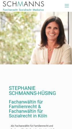 Vorschau der mobilen Webseite www.schmanns.eu, Rechtsanwälte Karl Reimar Schmanns & Stephanie Schmanns-Hüsing