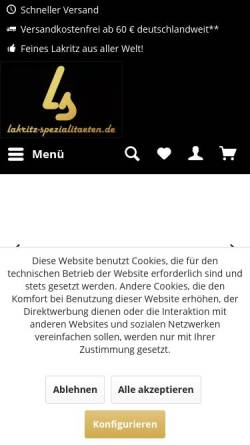 Vorschau der mobilen Webseite www.lakritz-spezialitaeten.de, Lakritz Spezialitäten