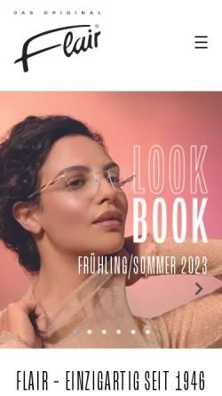 Vorschau der mobilen Webseite www.flair.de, FLAIR Modellbrillen Dr. Eugen Beck GmbH & Co. KG