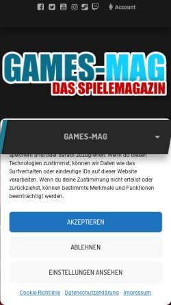 Vorschau der mobilen Webseite games-mag.de, Games-Mag