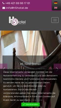 Vorschau der mobilen Webseite www.h5hotel.de, H5 Hotel Bremen