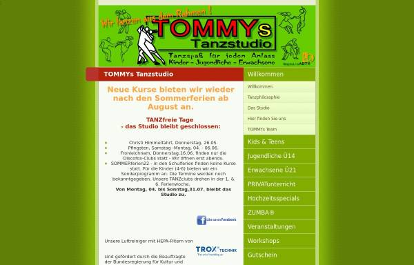 Vorschau von www.tommys-tanzstudio.de, TOMMYs Tanzstudio