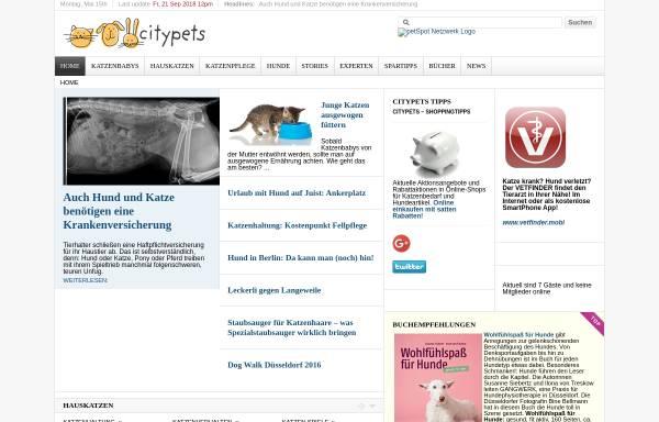 Vorschau von www.citypets.de, citypets - Webmagazin für Menschen mit Hauskatzen in der Stadt