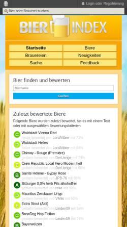 Vorschau der mobilen Webseite www.bier-index.de, Bier-Index - Bier bewusst genießen und bewerten für mehr Bierkultur