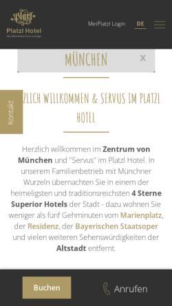 Vorschau der mobilen Webseite www.platzl.de, Platzl Hotel