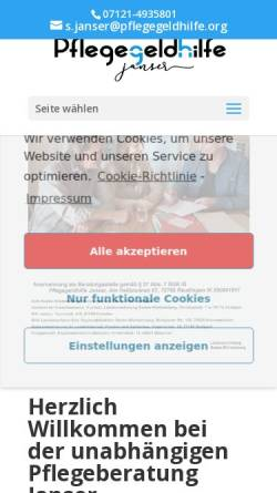 Vorschau der mobilen Webseite pflegegeldhilfe.org, Pflegegeldhilfe Janser