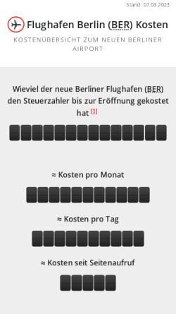 Vorschau der mobilen Webseite www.flughafen-berlin-kosten.de, Flughafen Berlin Kosten