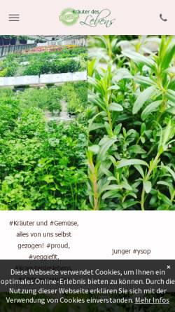 Vorschau der mobilen Webseite www.kraeuter-des-lebens.de, Kräuter des Lebens - Versandgärtnerei für Kräuter