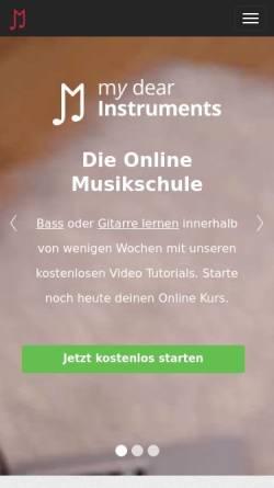 Vorschau der mobilen Webseite www.mydearinstruments.com, My Dear Instruments