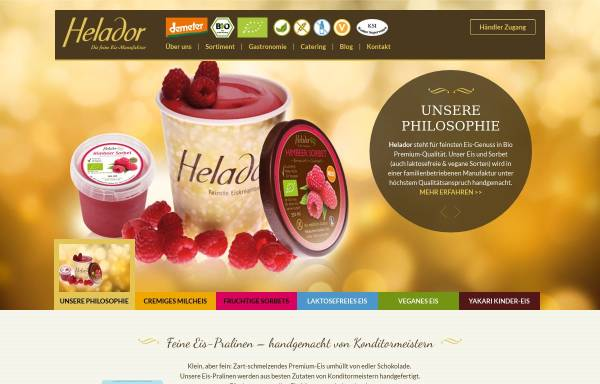 Vorschau von www.helador.de, Helador - die feine BIO Eismanufaktur aus Hessen