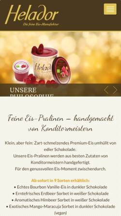 Vorschau der mobilen Webseite www.helador.de, Helador - die feine BIO Eismanufaktur aus Hessen