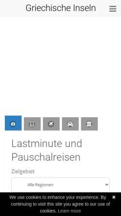 Vorschau der mobilen Webseite www.griechenland-insider-urlaub.de, Griechenland Insider Urlaub