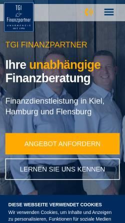 Vorschau der mobilen Webseite www.tgi-partner.de, TGI Finanzpartner GmbH & Co. KG
