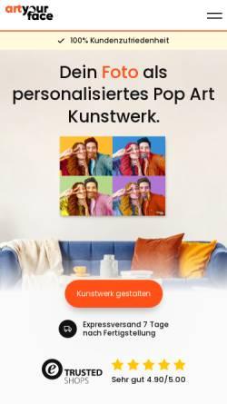 Vorschau der mobilen Webseite www.artyourface.de, ArtYourFace