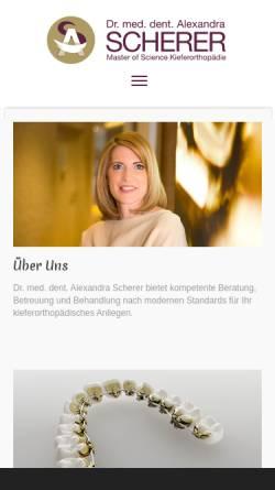 Vorschau der mobilen Webseite www.dr-scherer.at, Kieferorthopäde Salzburg: Dr. Alexandra Scherer, Spezialist für Kieferorthopädie