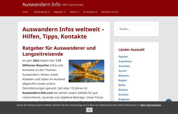 Vorschau von www.auswandern-info.com, Reisen und Auswandern sowie Arbeiten im Ausland