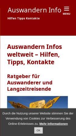 Vorschau der mobilen Webseite www.auswandern-info.com, Reisen und Auswandern sowie Arbeiten im Ausland