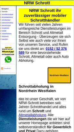 Vorschau der mobilen Webseite nrw-schrott.de, NRW-Schrott, Darek Libo