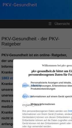 Vorschau der mobilen Webseite www.pkv-gesundheit.de, PVK-Gesundheit (Ratgeber)
