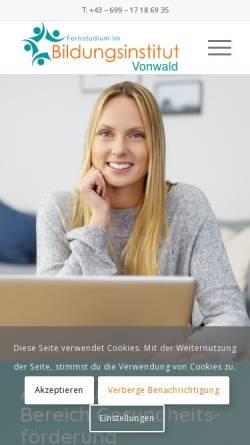 Vorschau der mobilen Webseite www.bildungsinstitut-vonwald.at, Bildungsinstitut Vonwald