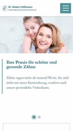 Vorschau der mobilen Webseite www.stillmann.at, Zahnarzt Dr. Stillmann - Implantologie im 1. und 19. Bezirk