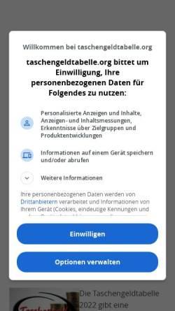 Vorschau der mobilen Webseite www.taschengeldtabelle.org, Die Taschengeldtabelle