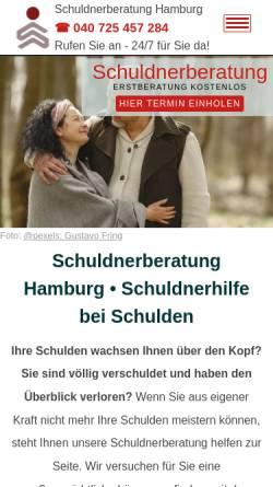Vorschau der mobilen Webseite www.schuldnerberatunghamburg.com, Schuldnerberatung Hamburg mit RfS