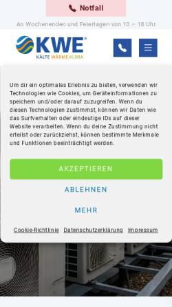 Vorschau der mobilen Webseite www.kaelte-technik-kwe.de, Kälte-Technik KWE