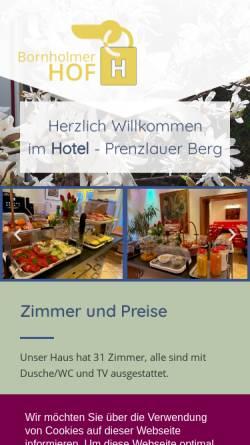 Vorschau der mobilen Webseite www.bornholmer-hof.de, Hotel-Pension Bornholmer Hof