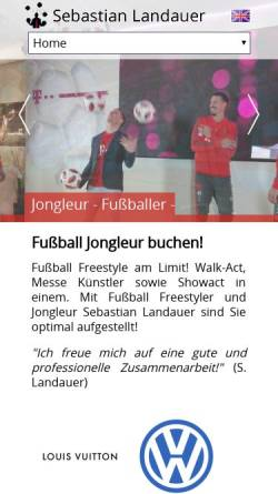 Vorschau der mobilen Webseite www.fussball-jongleur.de, Sebastian Landauer