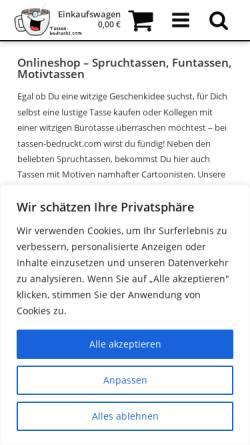 Vorschau der mobilen Webseite www.tassenundmehr.de, Tassen und mehr, Carol Rose Photography
