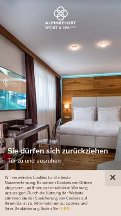 Vorschau der mobilen Webseite www.alpinresort.com, Alpinresort Sport & Spa Hotel in Saalbach