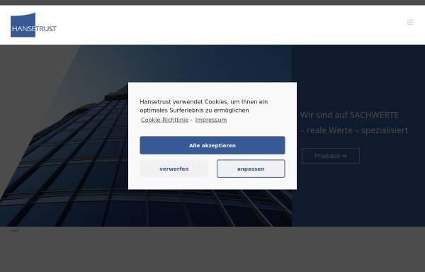 Vorschau von www.hansetrust.de, Hansetrust Sachwertanlagen und Investmentvermögen