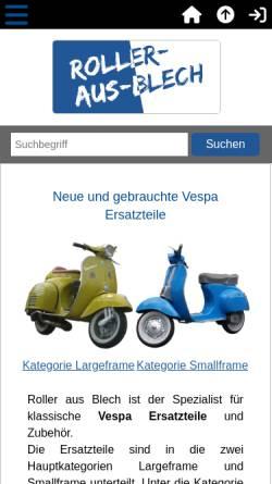 Vorschau der mobilen Webseite www.roller-aus-blech.de, Roller aus Blech, Christoph Gniadek