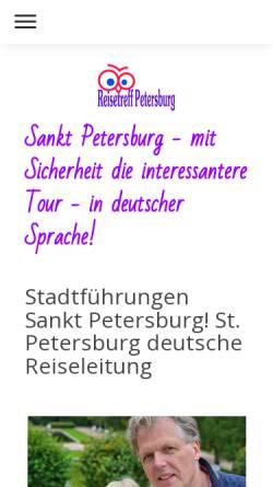 Vorschau der mobilen Webseite www.reisetreff-petersburg.com, Reisetreff Petersburg - Individuelle Stadtführungen in Sankt Petersburg