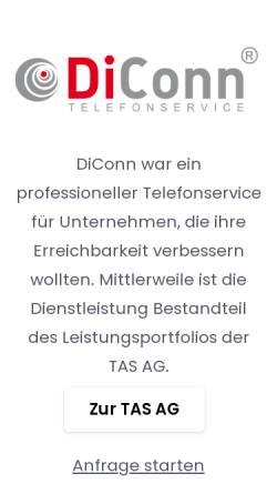 Vorschau der mobilen Webseite diconn.de, DiConn Telefonservice, TAS AG