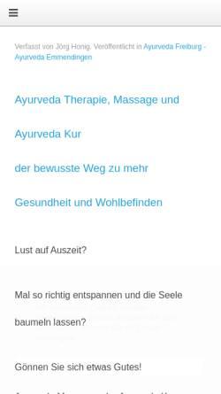 Vorschau der mobilen Webseite www.ayurveda-classic.de, Ayurveda Massage Kur Freiburg Emmendingen